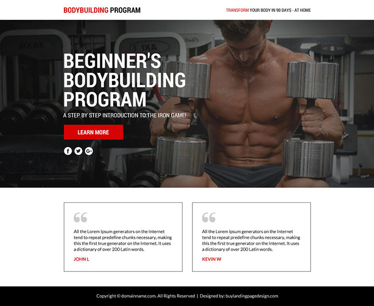 bodybuilding lead funnel responsive landing page
