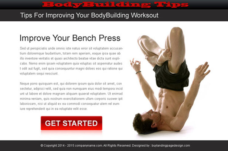 bodybuilding call to action ppv landing page design