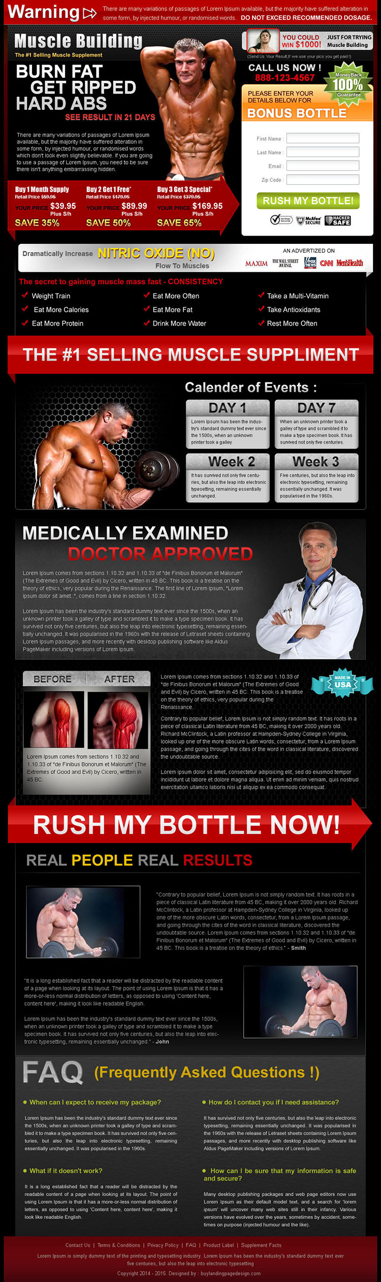 burn fat get ripped highest converting bodybuilding lead capture landing page design