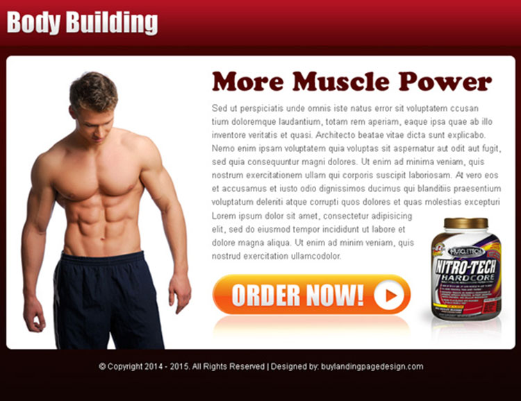 bodybuilding product selling ppv landing page design