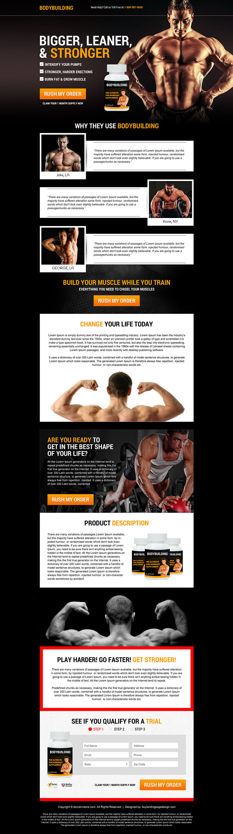 body building supplement selling responsive sales page design