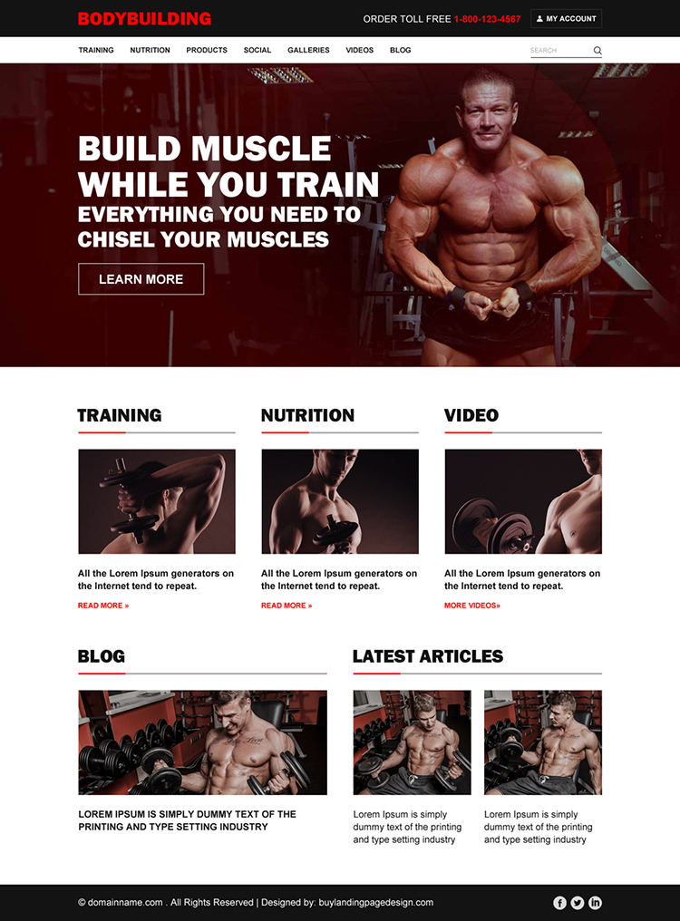 professional bodybuilding responsive website design