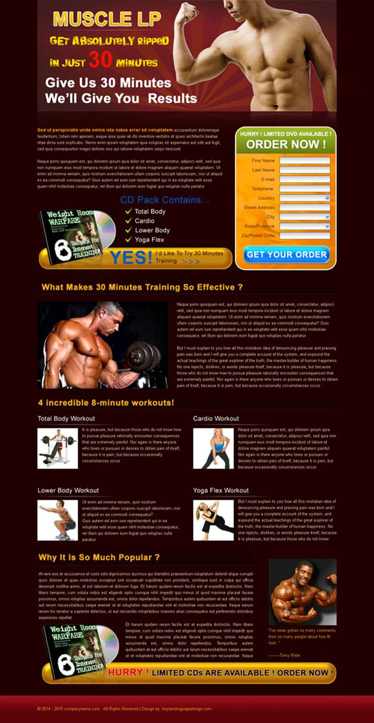 bodybuilding service lead capture lander design template