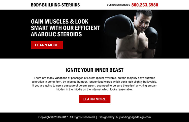 clean body building call to action ppv landing page