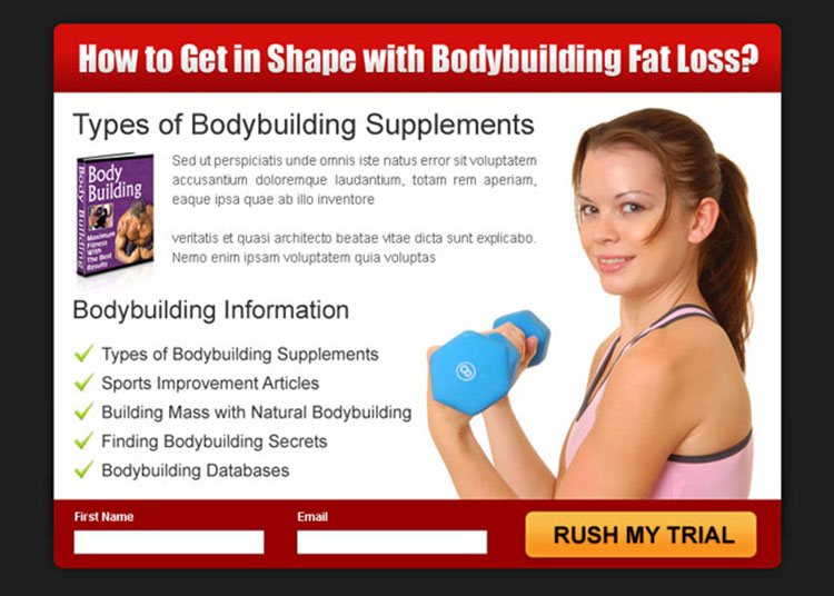 get in shape with body building fat loss product ppv landing page design