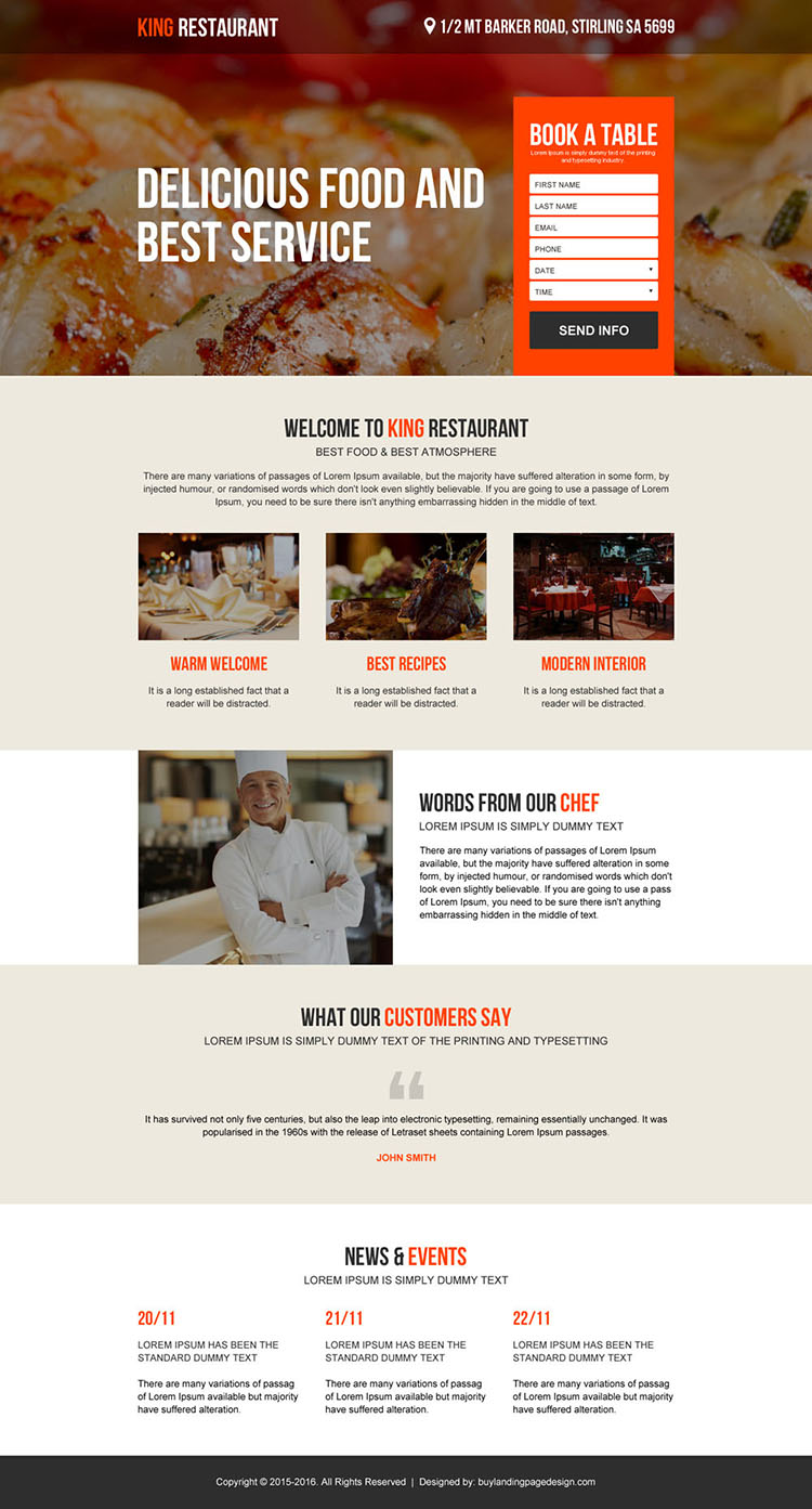 restaurant online booking converting landing page design