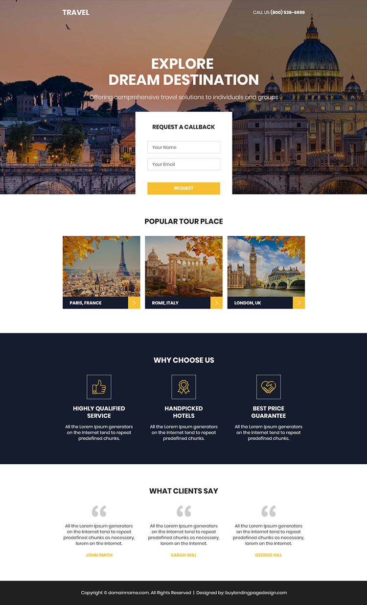 perfect holiday tour package booking responsive landing page design