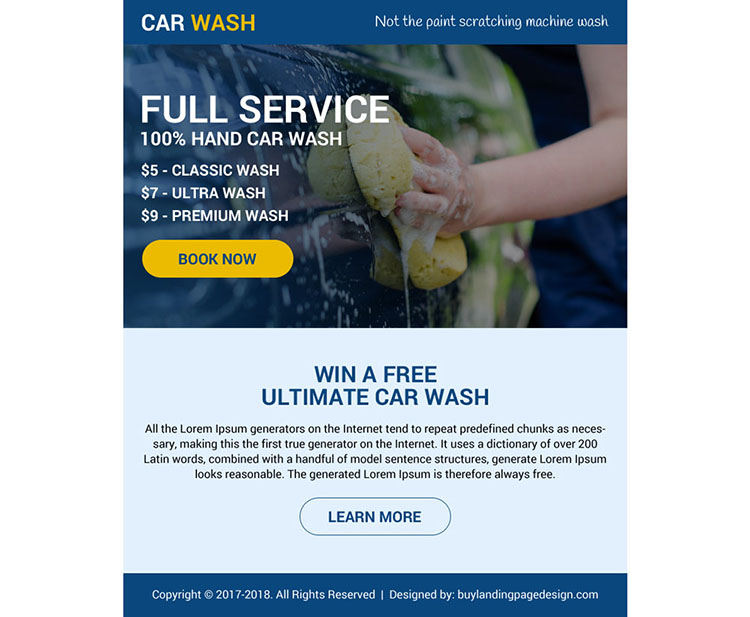 free car wash service booking ppv design
