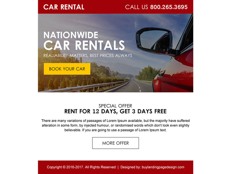 lead gen ppv landing page design for car rental business