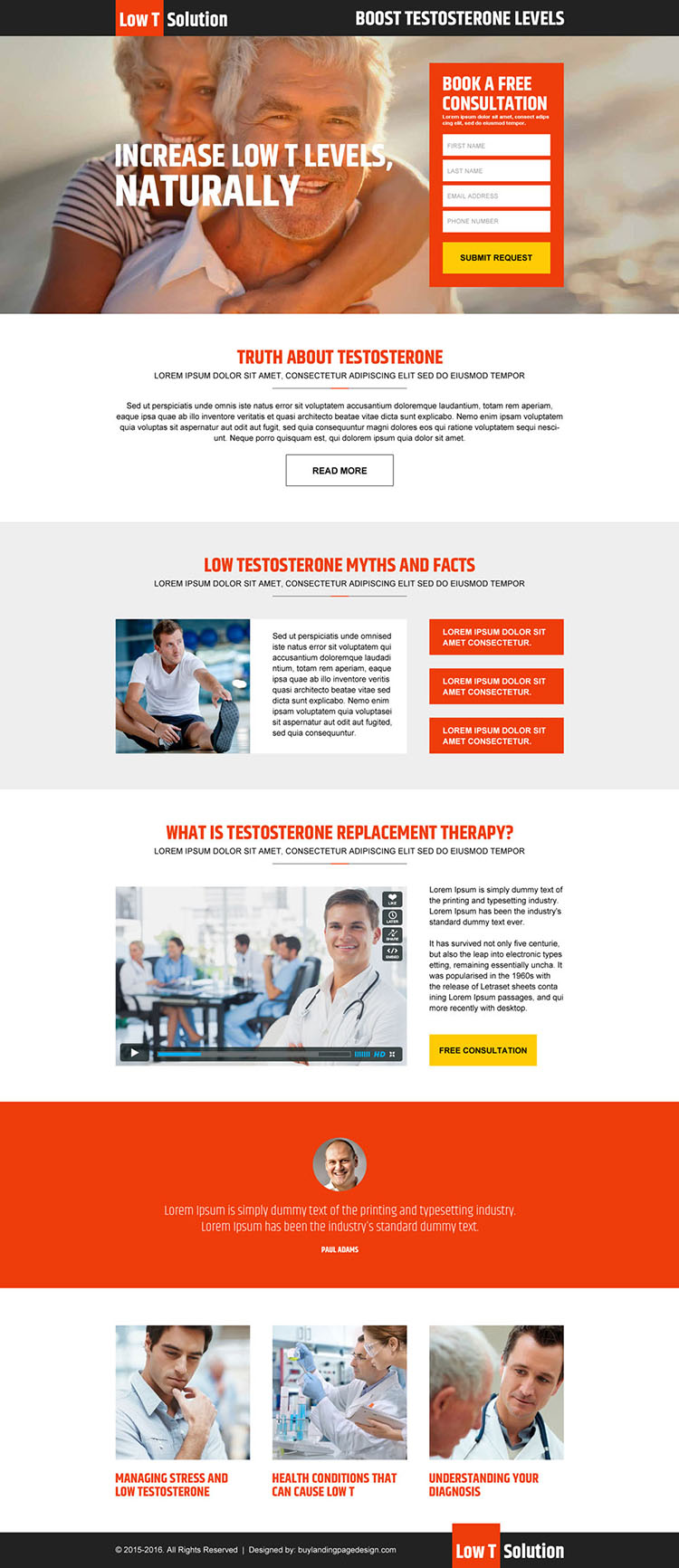 boost testosterone levels responsive landing page design
