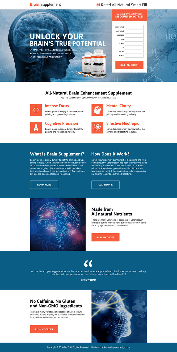 responsive brain supplement product selling landing page design