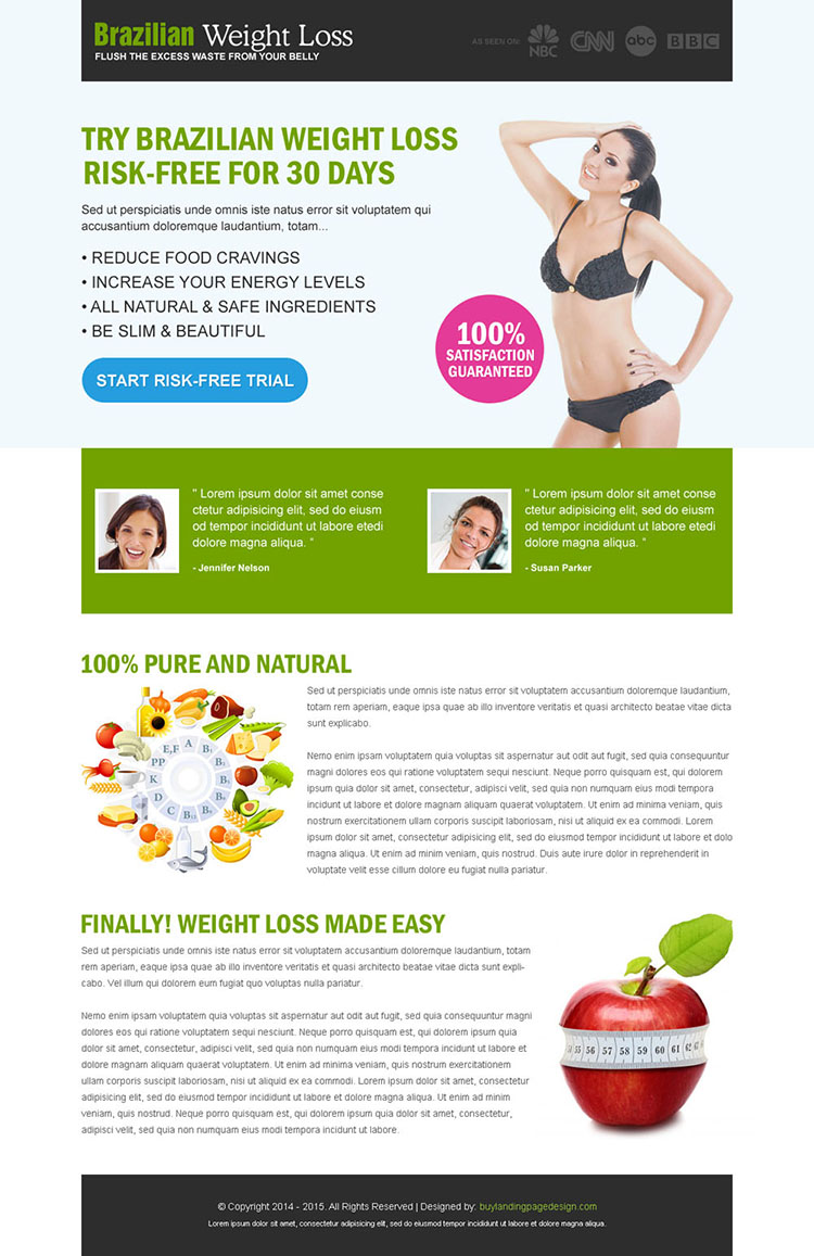 brazilian weight loss risk free trial call to action converting landing page design