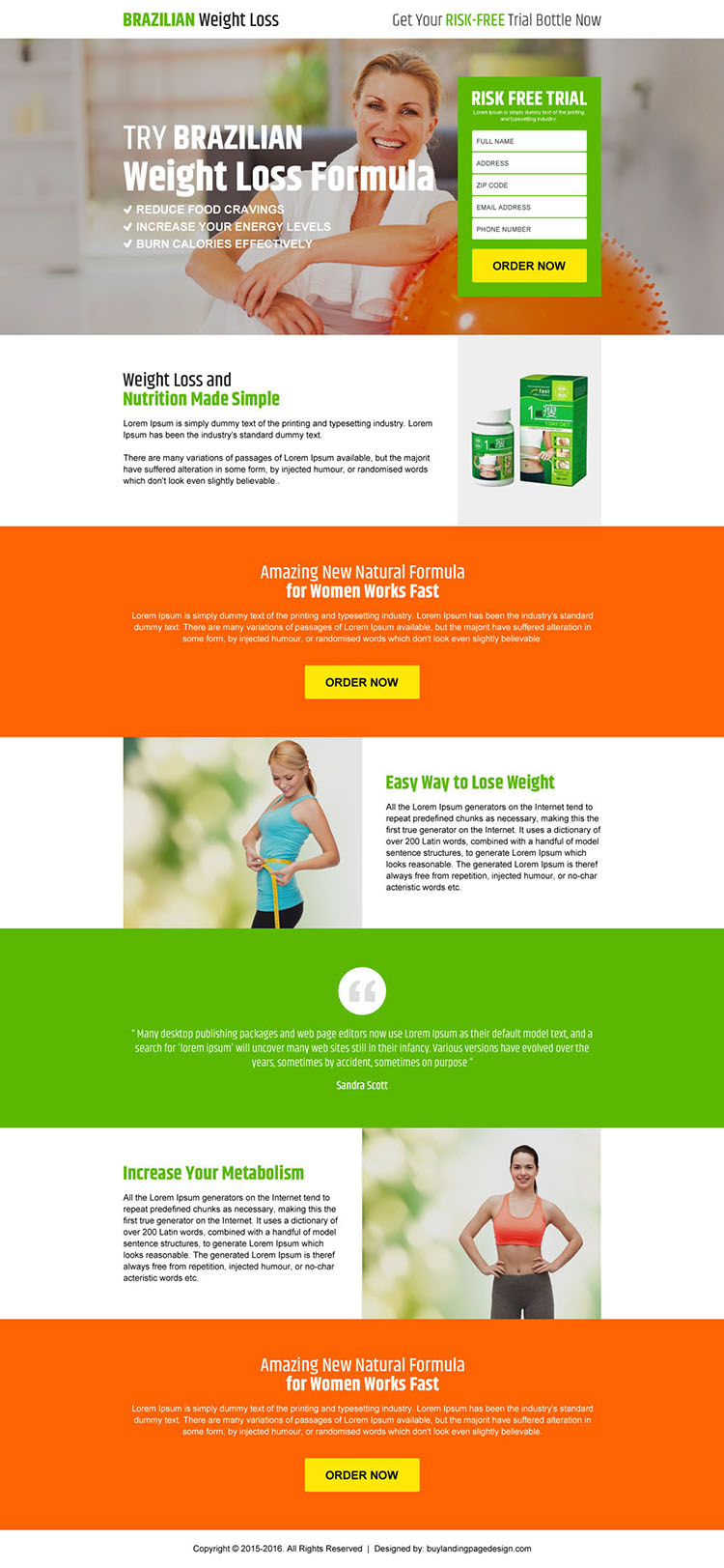 brazilian weight loss risk free product trial landing page design