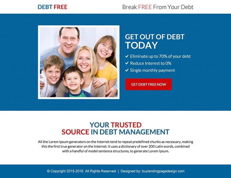 professional debt free ppv landing page design