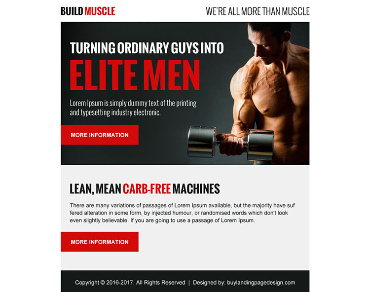 build muscle appealing ppv landing page design