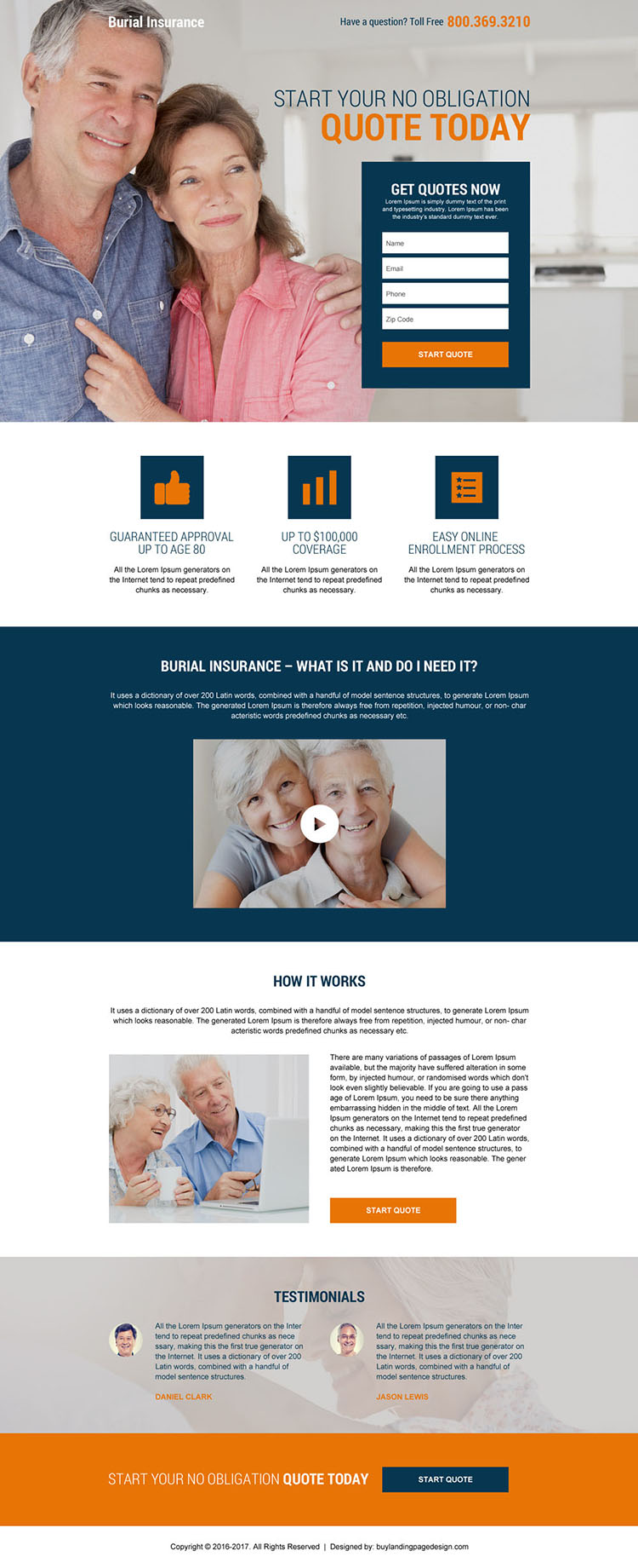 burial and final expense insurance landing page design