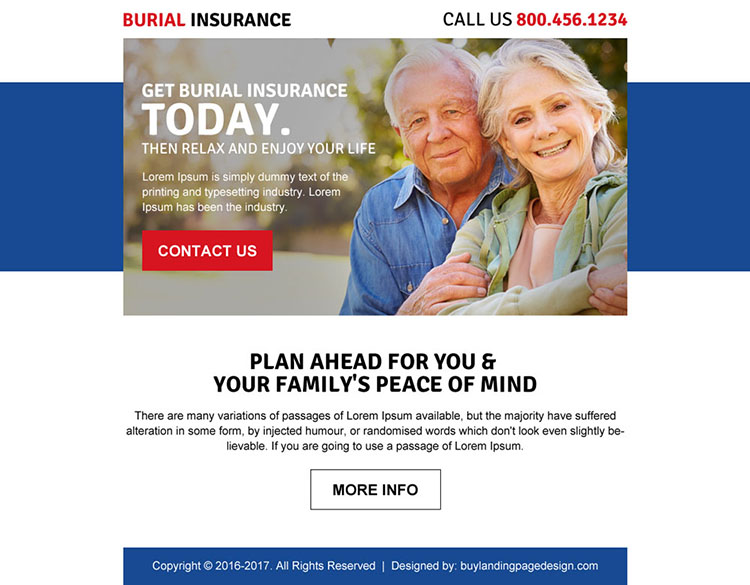 burial insurance call to action ppv landing page design