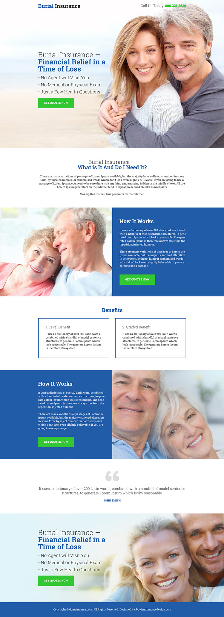 burial insurance for financial relief bootstrap landing page