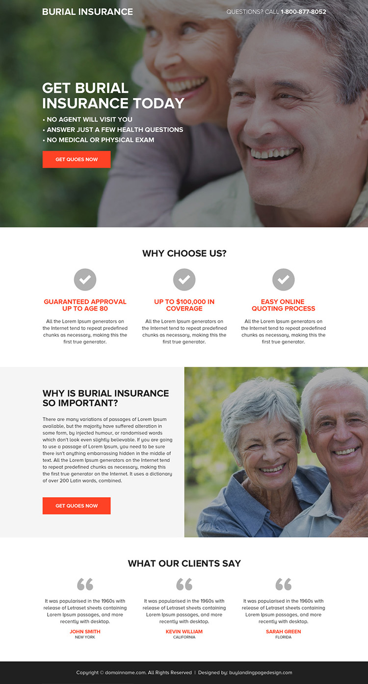 burial insurance quotes responsive landing page design