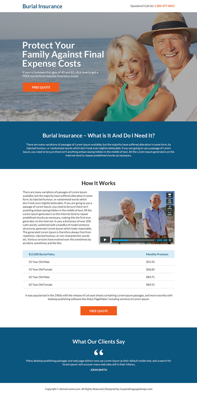 burial insurance free quote responsive landing page