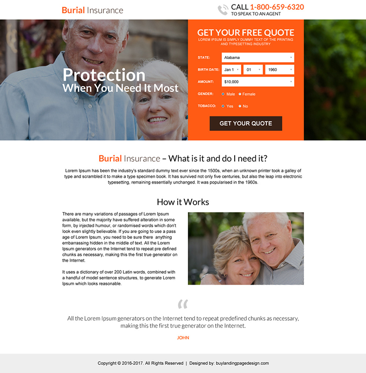 responsive burial insurance free quote lead capturing landing page