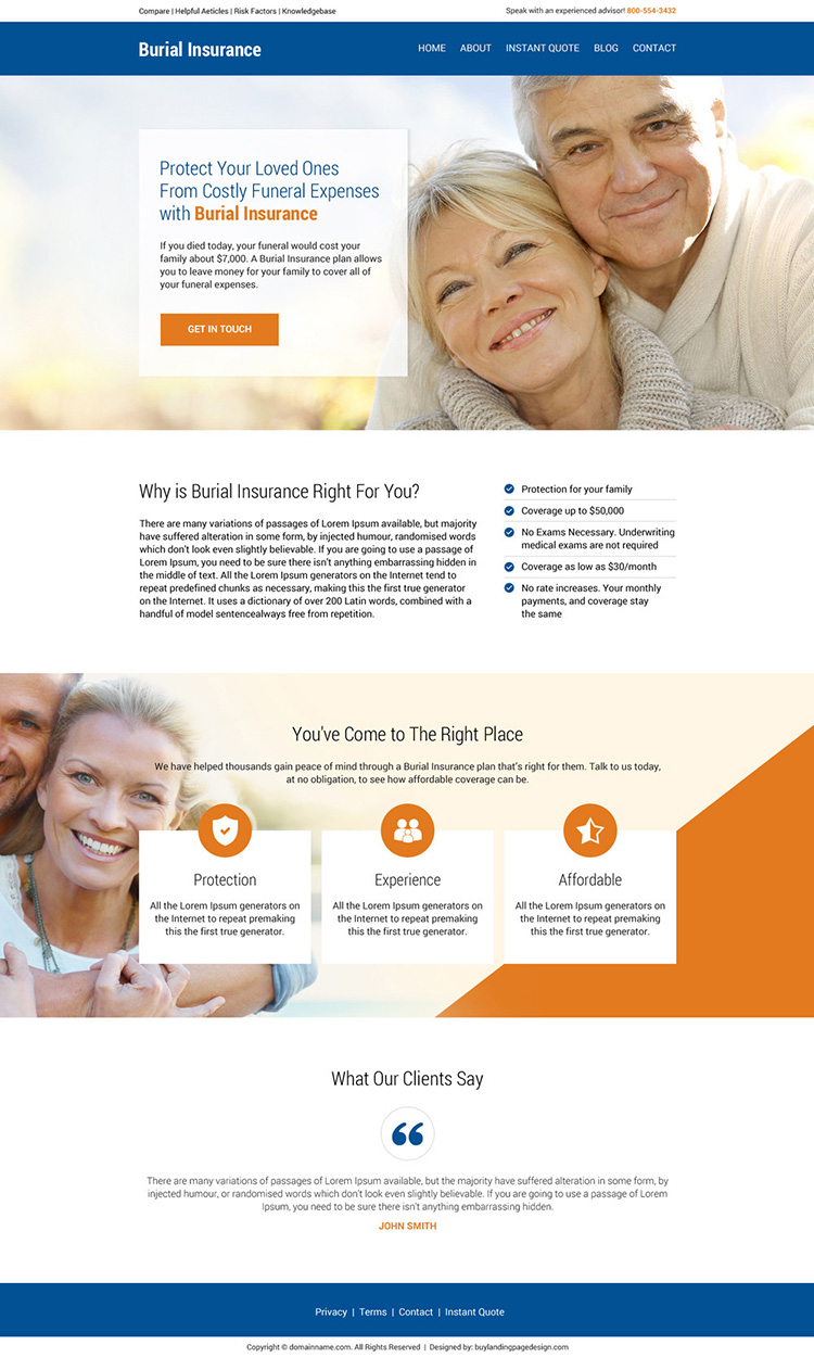 burial insurance professional and effective website design