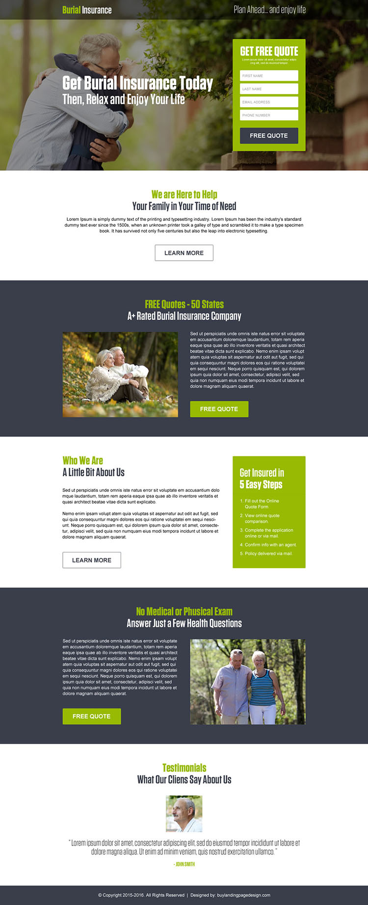 burial insurance lead generation responsive landing page