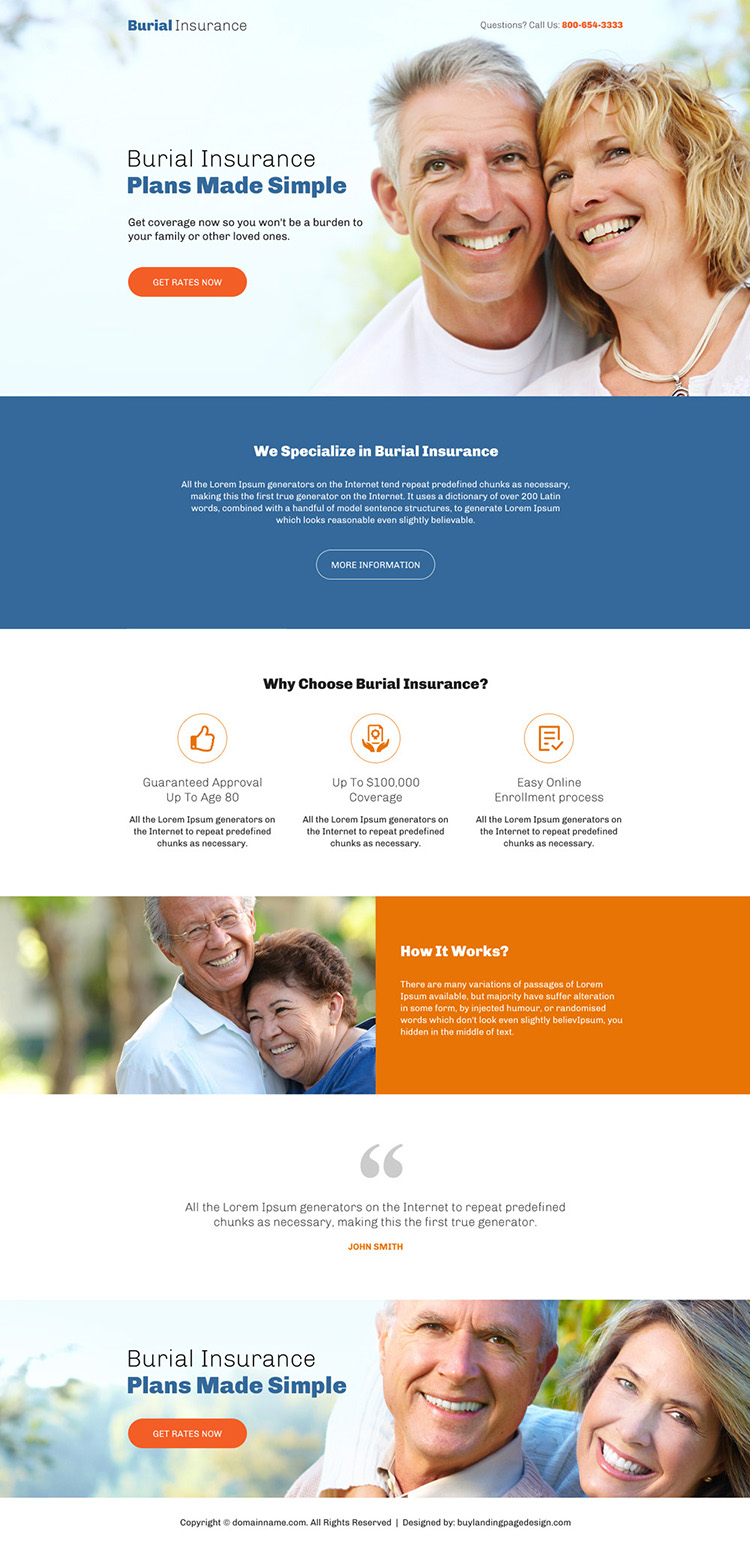 professional burial insurance responsive landing page design