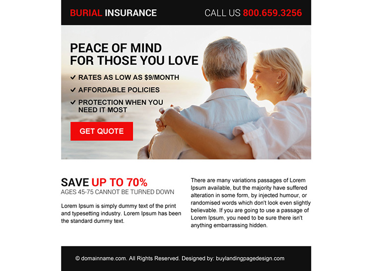 minimal burial insurance free quote ppv landing page design