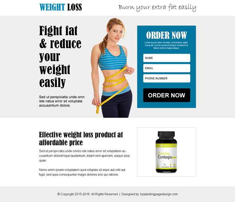 burn your extra fat weight loss product ppv landing page design