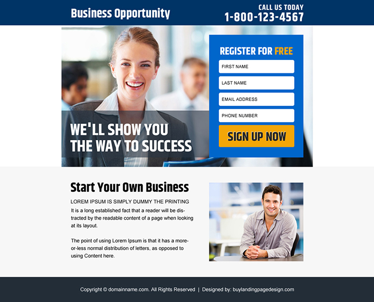 business opportunity sign up capturing PPV design