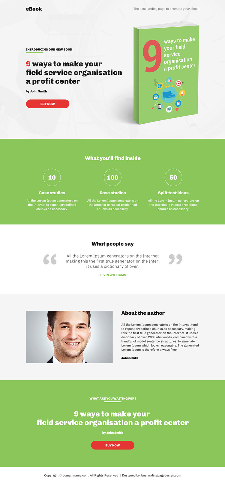 clean and professional ebook bootstrap landing page