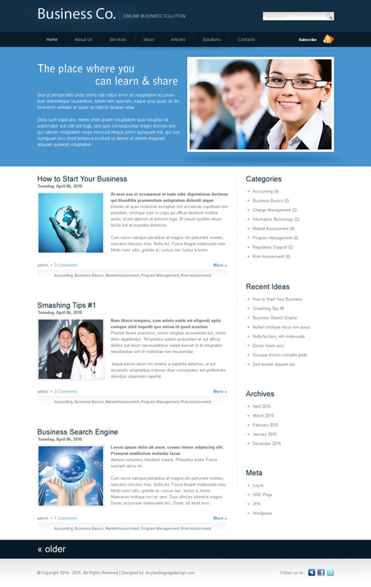 business company website template design psd for your online business