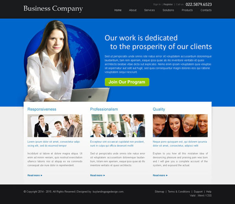 business company call to action website template design psd
