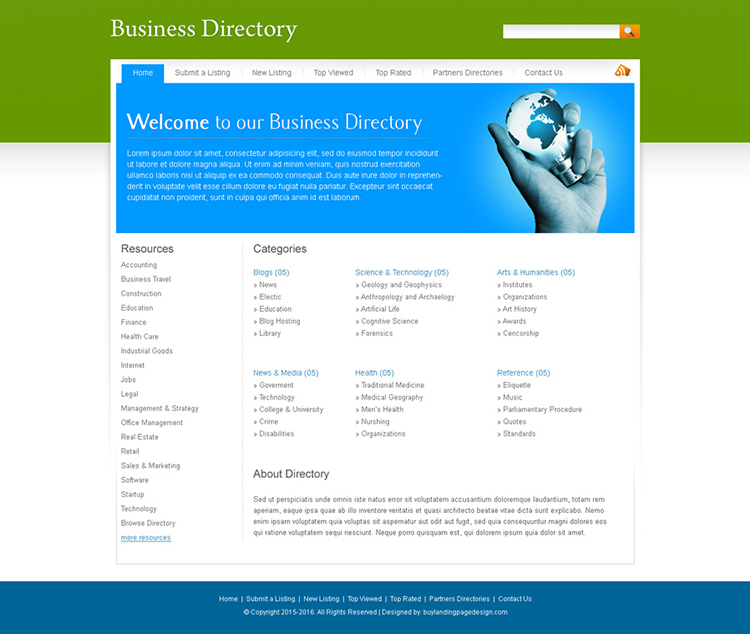 business web directory website template design psd