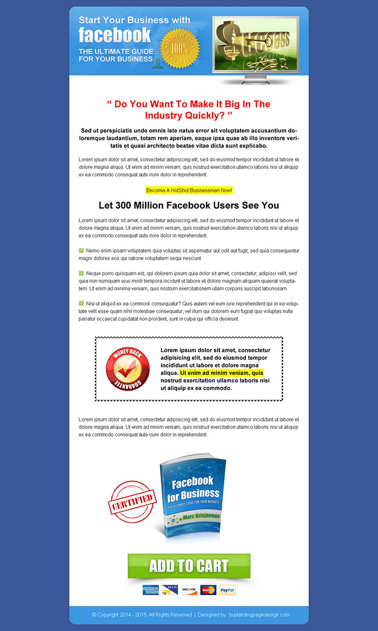 business ebook call to action sales page design