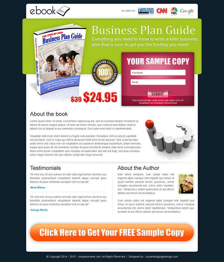 business ebook lead capture lander design