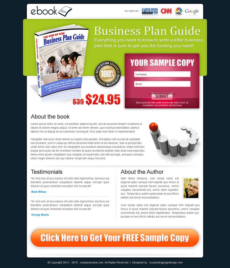 business ebook lead capture lander design