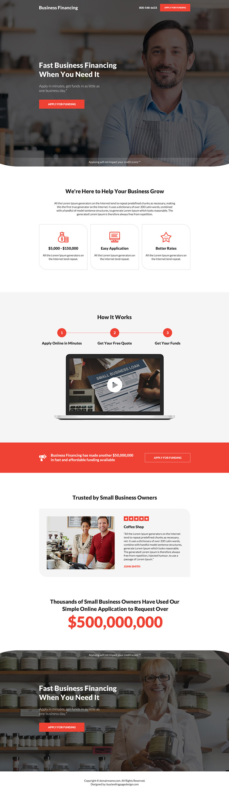 business financing pay per click landing page design