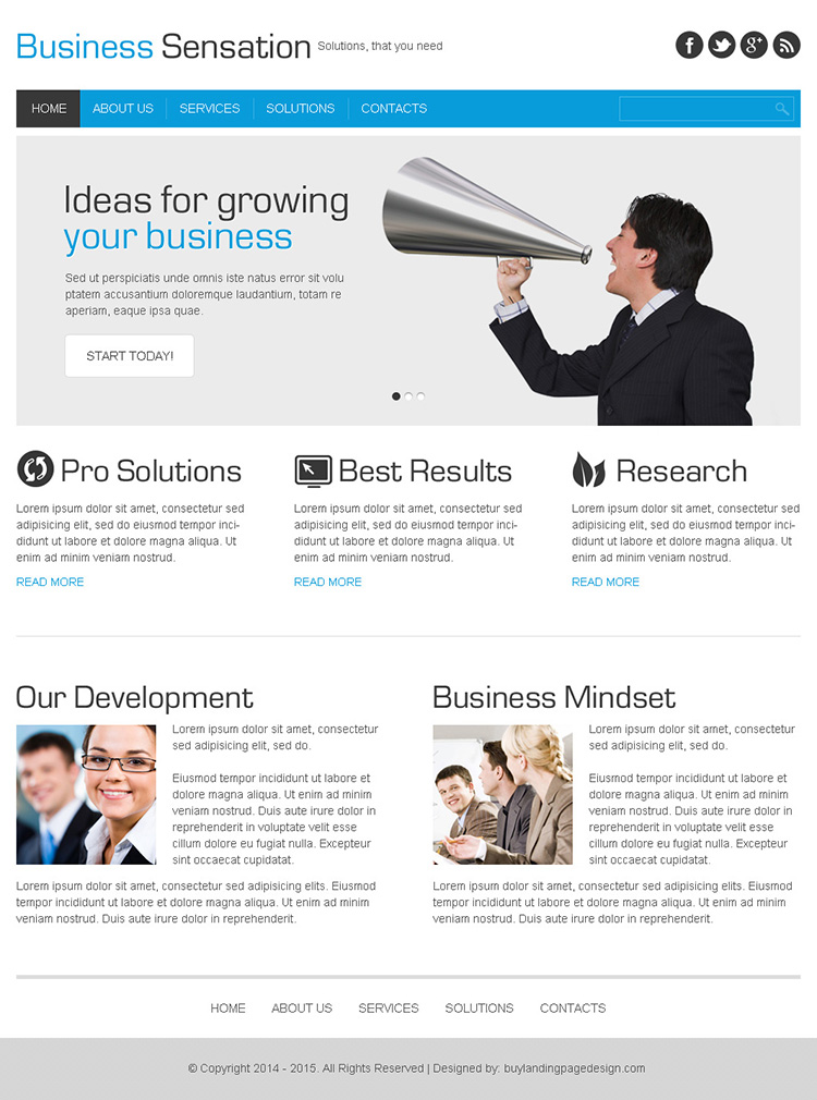 business sensation clean and minimal html website template