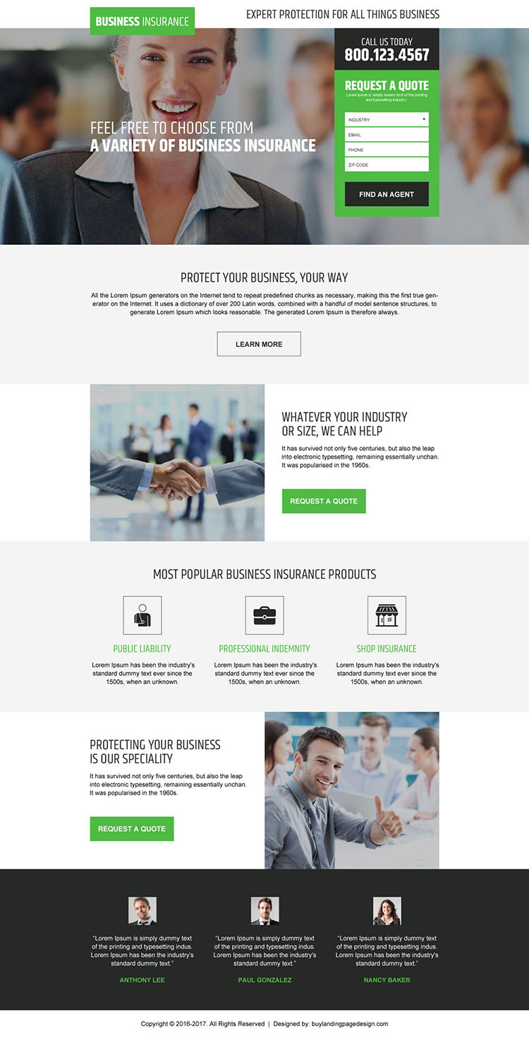 business insurance free quote lead capturing landing page