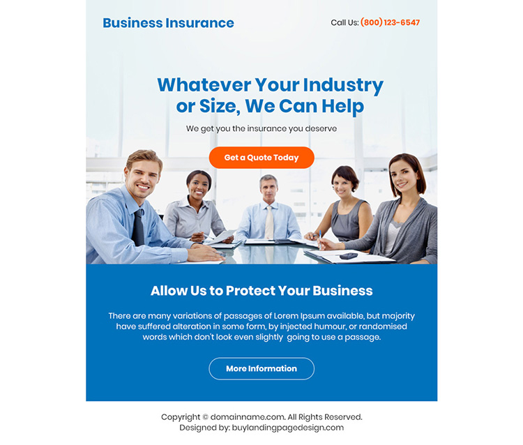 business insurance free quote ppv landing page design