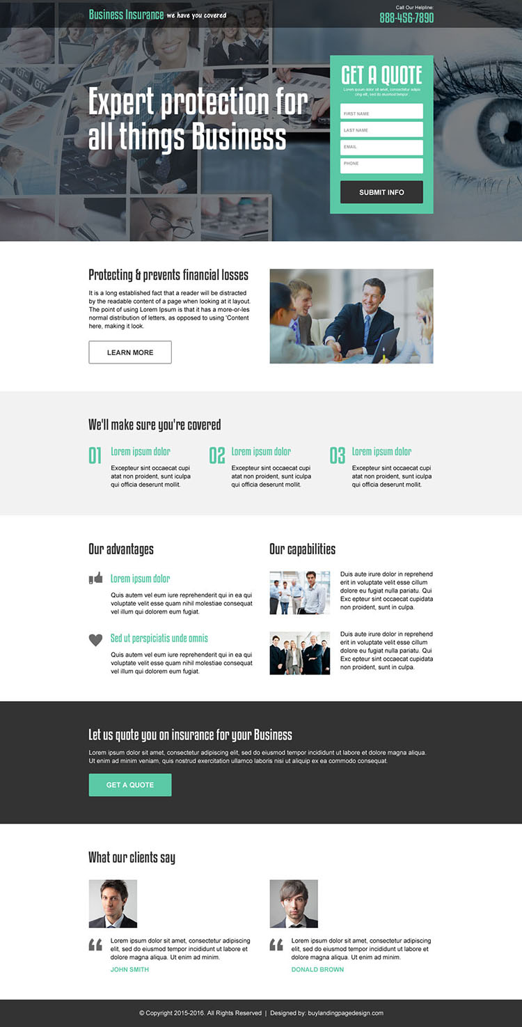 business insurance professional and clean landing page