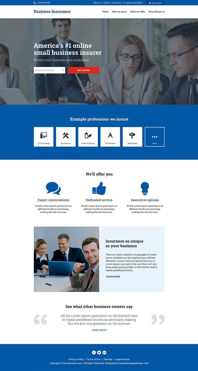 professional business insurance responsive website design