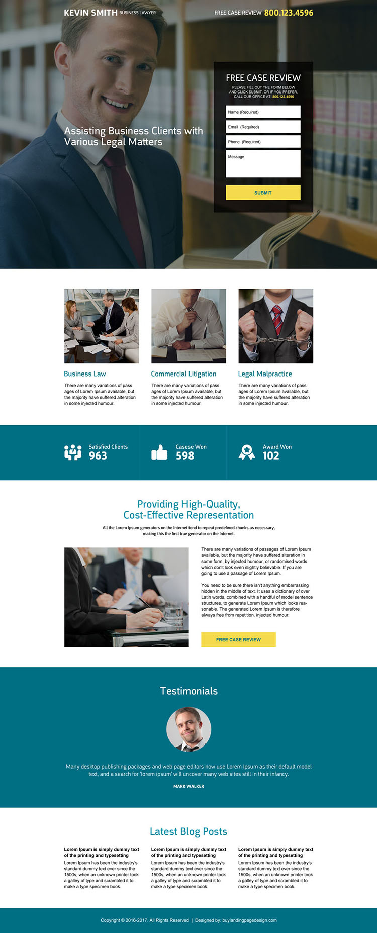 business lawyer free case review lead capturing landing page