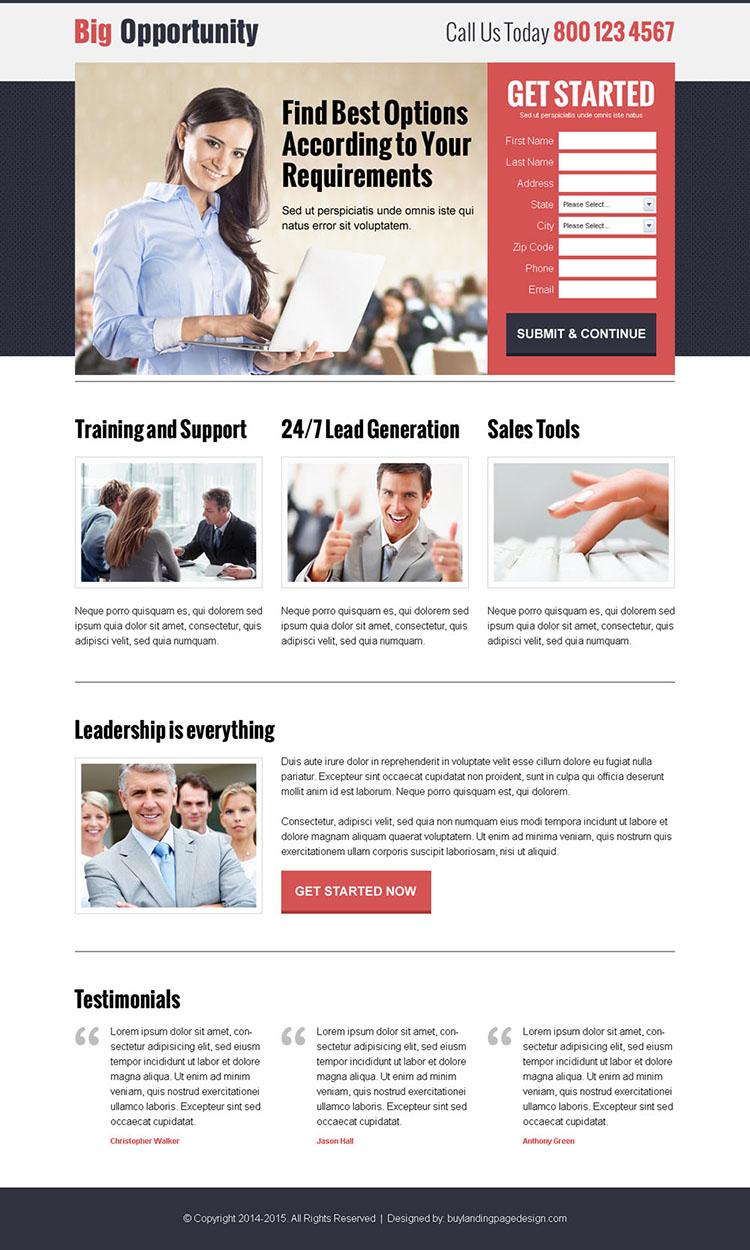 responsive lead capture business landing page to boost your business