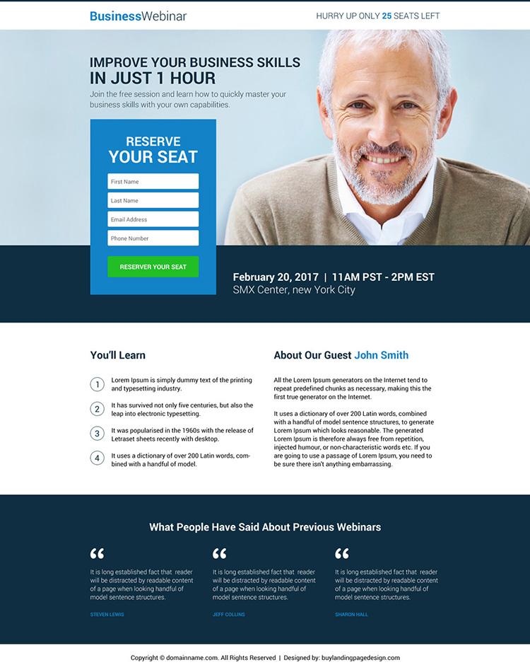 business lead gen webinar landing page design