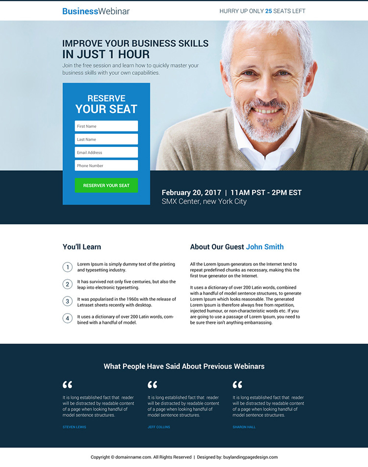 business lead gen webinar responsive landing page design