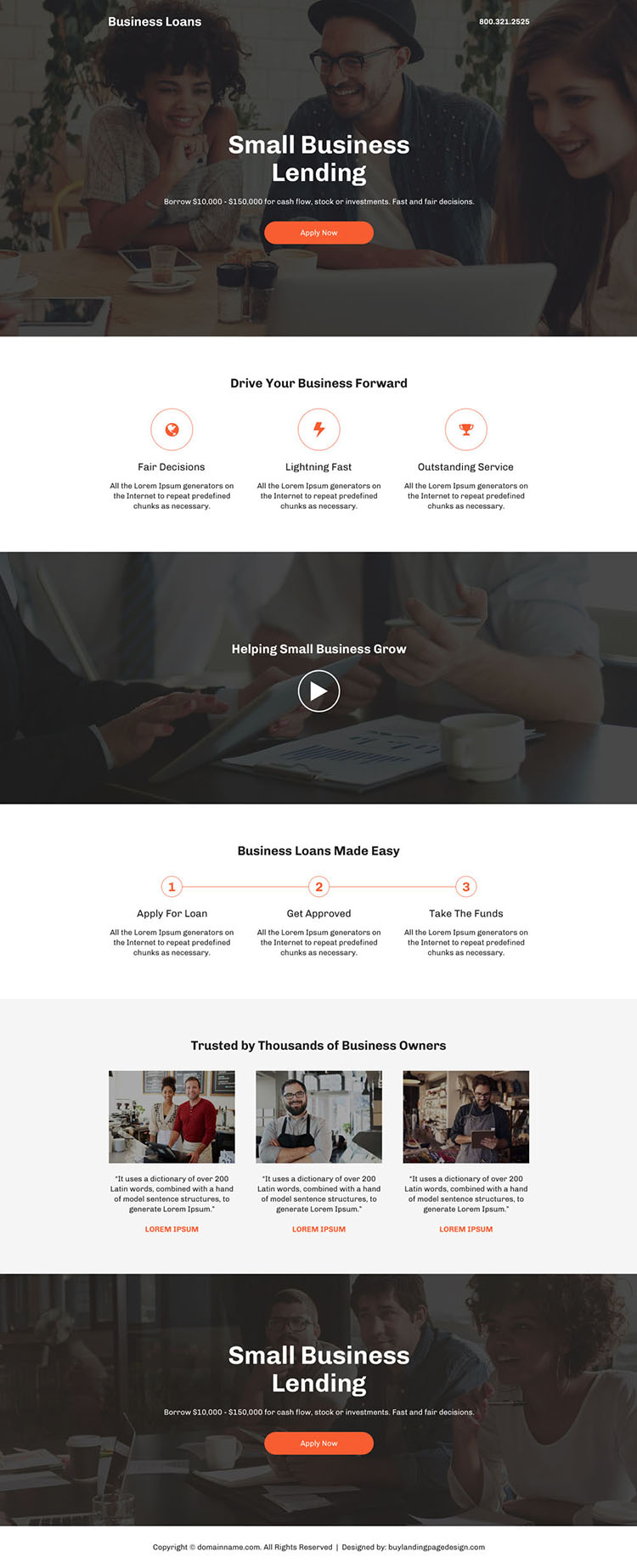 small business lending professional landing page design
