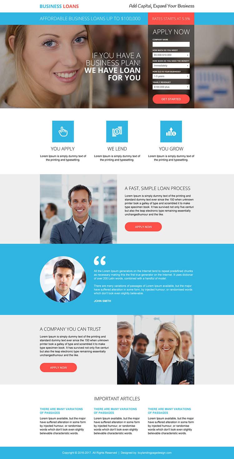 business loan lead gen modern landing page design